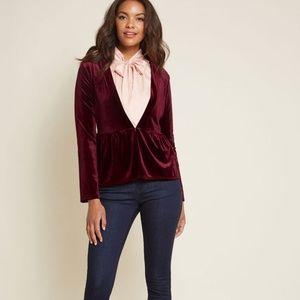 Modcloth Velvet Draped Blazer Burgundy Jacket NEW